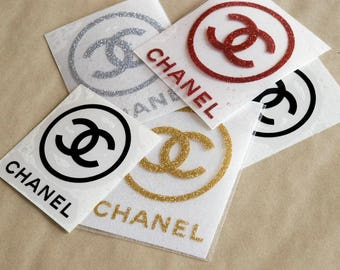 Chanel inspired iron on decal / round cc heat transfer applique / diy t-shirt design /  glitter chanel / gold glitter / silver / rose gold