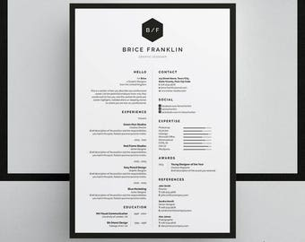 Brice Resume/CV Template | Word | Photoshop | InDesign | Professional Resume Design | Cover Letter | Instant Download