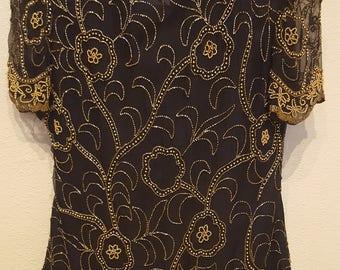 Vintage Silk Beaded Top