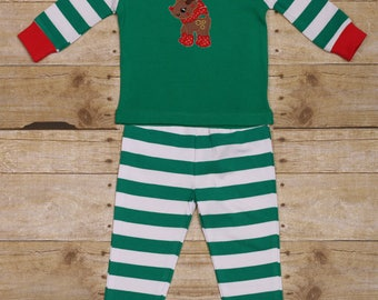 Reindeer Christmas Holiday Pajamas Green Striped