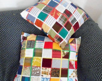decorative patchwork pillows, machine sewn