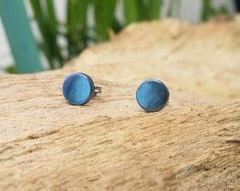 Titanium earrings Anodised vivid blue with titanium stud backings. Hypoallergenic titanium studs. Allergy free earrings. Allergy free studs