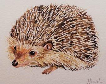 Hedgehog Art Hedgehog Painting Hedgehog Print Hedgehog Watercolor Painting Baby Hedgehog