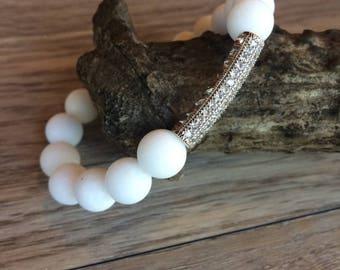 Matte White Gemstone Bracelet with Silver Pavé Tube