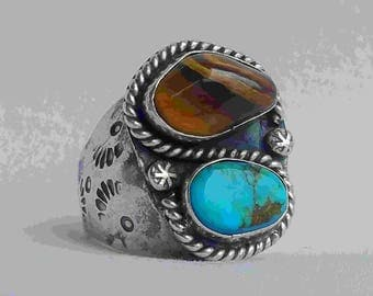 Vintage Native American Indian Turquoise Tigers Eye Ring