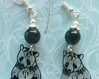 Panda tattoo effect earrings