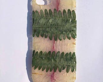 pressed flower iphone 6/6s Rose pedal and Fern phone case. hard plastic.