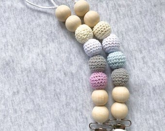 Jumbo Wooden Knit-Crochet Pacifier Clip