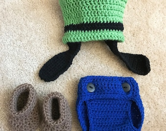 Disney Goofy Inspired Infant Newborn Baby Outfit Beanie Hat Booties Shoes Diaper Cover Crochet Photography Photo Prop