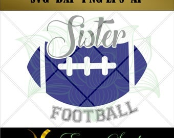 Football Sister svg, Football svg, Design Studio, svg Files for Cricut, Printable svg, Cutting Files, svg files for Silhouette svg, PNG