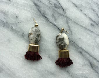 Large Stone Tassel Earring