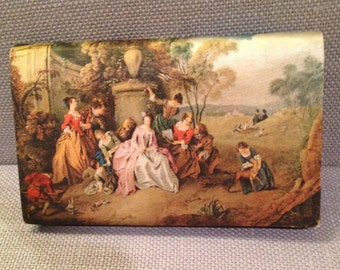 vintage victorian portrait silk wallet kiss lock coin purse wallet made in italy by tano. circa 1940's