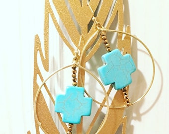 Turquoise & chocolate earrings