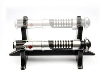 Lightsaber Stand - Double Tier for 2 Hilts - Black Lacquered Wooden Light Saber Hilt Holder Display Handmade