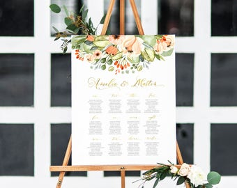 Wedding Seating Chart, Floral  Greenery Seating Chart, Calligraphy Wedding Seating Plan, Faux Gold Blush Floral Wedding Seating Chart 002