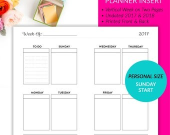 PRINTED Personal Size Undated Vertical Week On 2 Pages Planner Inserts - Sunday Start