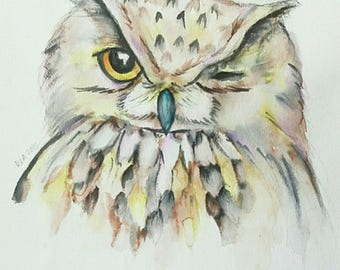 Owl Watercolor - Print 9x12 inch