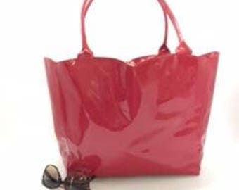 "Genuine patent leather tote bag - ""Sweetheart"" tote - Everyday bag - Travel tote - Weekend purse"