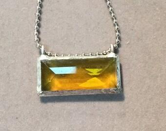 Yellow rectangle crystal pendant