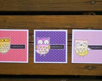 Note Cards, Handmade Greeting Card, Note Cards Set, Mini Cards, Mini Cards Set, New Baby, New Job, Congrats, Congratulations, Owls