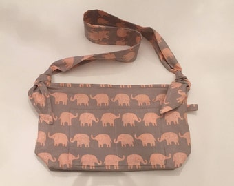 Baby Bag, Diaper Bag, Mom's Bag, Pink Elephants, Shoulder Bag, Pockets