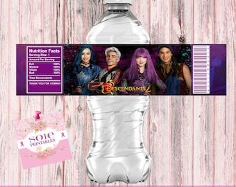 Descendants 2 Water Bottle Labels- INSTANT DOWNLOAD