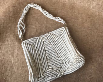40's 50's White Telephone Cord Purse