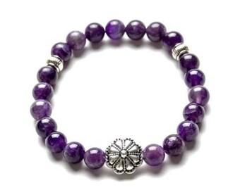 AMETHYST 8mm Gemstone Beaded Bracelet- Healing Stones - Yoga Bracelet- Gift Women