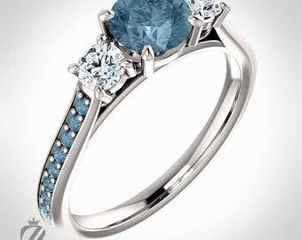 Platinum Three Stone Teal Blue Diamond Engagement Ring Diamond Ring Wedding Ring Bridal Ring