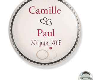 Customizable wedding 38MM badge / beige ring