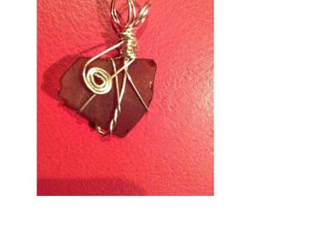 Brown sea glass with silver wrap necklace