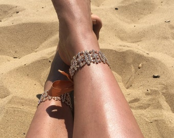 Rhinestone encrusted Anklets with adjustable Satin Ribbon