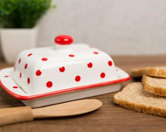 City to Cottage White And Red Polka Dot Hand Painted Ceramic Butter Dish With Lid