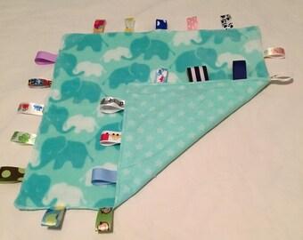 Baby Blanket with tags - Aqua and Aqua stars
