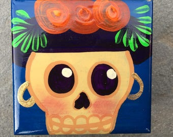 "Handmade Wooden ""Day of the Dead"" Style Storage or Jewelry Box from Mexico"