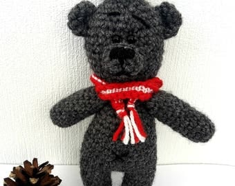 Crochet Woolen Gray Teddy Bear Red scarf Toy Knitted animals little cute