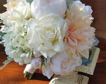 garden rose peony and dahlia blush and ivory bridal bouquet garden bridal