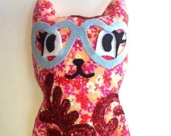 Floral & Sequin Stuffed Animal Cat
