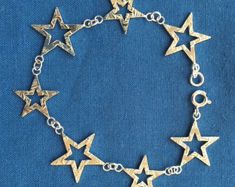0.5 Silver Sixpence and Threepence Stars Bracelet