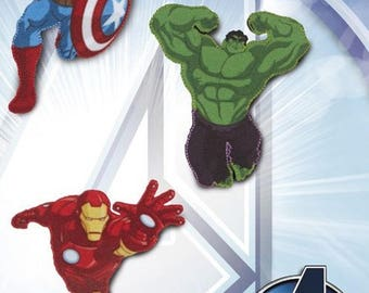 Marvel Avengers initiative * set of 3 * applications Temple on patch iron * Hulk Captain America IRON MAN * iron patches patch