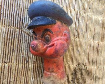 tête de marionnette ancienne, popeye, old puppet head,antigua cabeza de marioneta, antzinako txotxongilo burua, muinainen nukkepää