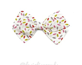Kids hair clip or headband baby knot white confetti pattern