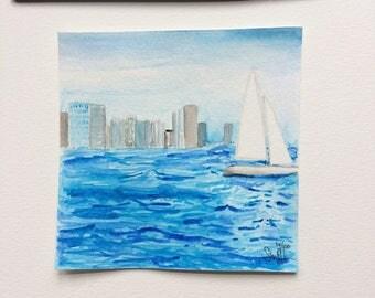 Watercolor Painting City Sailing