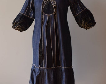 African Country Clothes Denim Mix Dress