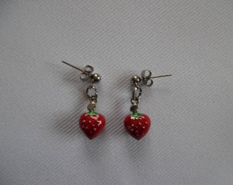 Red Strawberry on stainless steel stud earrings.