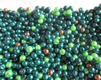 50 4 mm mixed green and brown glass pearls