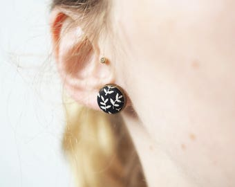 Small Stud Earrings with a floral pattern fabric