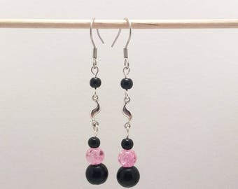 Earrings Silver earrings with black and pink beads and silver charms
