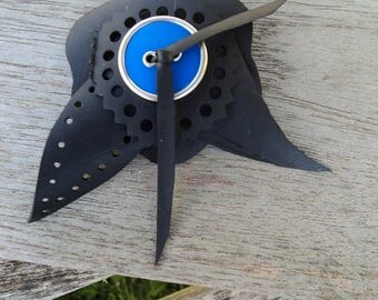 Brooch in inner tube recycled flower with blue and silver button - flower brooch - pin vegan leather