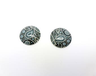 2 cabochons glass 18mm black/white (sfcv05) arabesque pattern